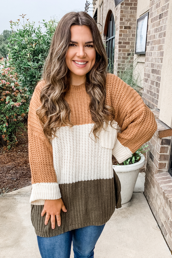 TOFFEE COLORBLOCK SWEATER