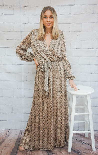 SNAKE SURPLICE MAXI DRESS