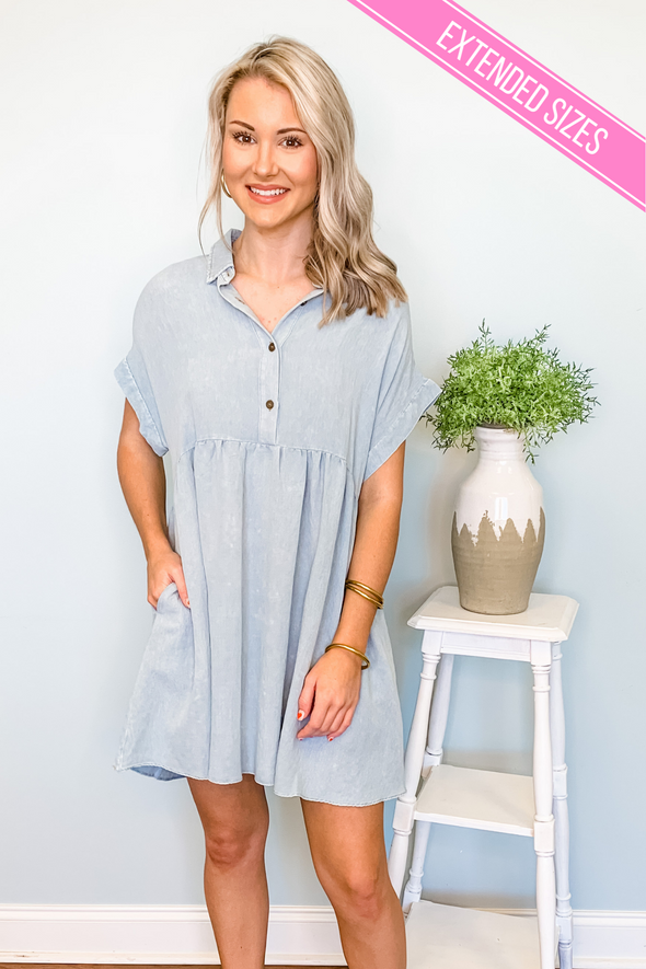 LIGHT DENIM BABYDOLL DRESS