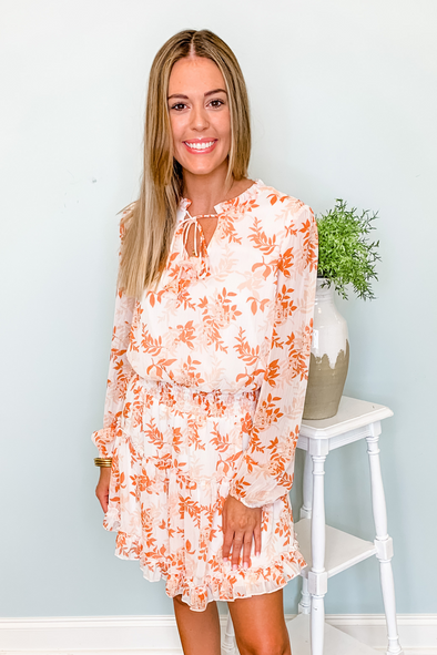 ORANGE FLORAL SMOCKED WAIST LONG SLEEVE DRESS