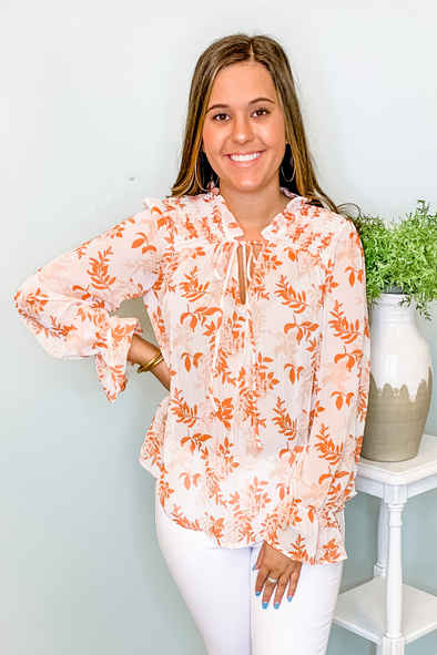 ORANGE FLORAL LONG SLEEVE TOP