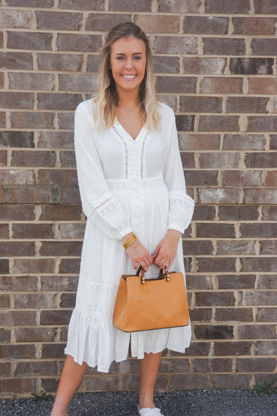ADIA WHITE MIDI DRESS