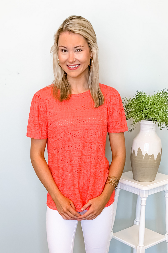 CORAL EYELET BUTTON BACK TOP