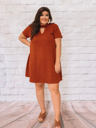 PLUS ORANGE CHOKER KNIT DRESS