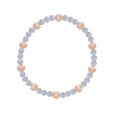 6MM BEAD BRACELET SINCERITY PATTERN, BLUE LACE AGATE