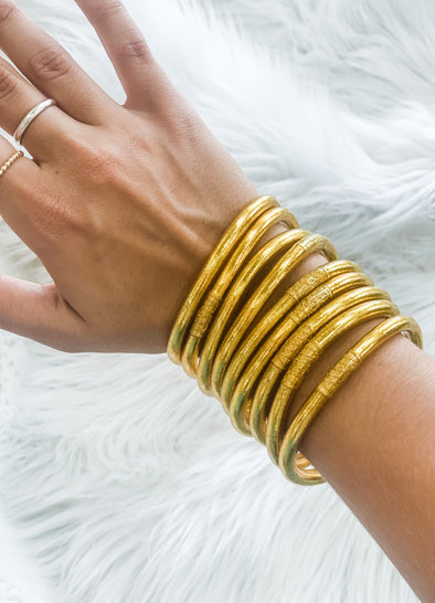 BUDHAGIRL ALL WEATHER BANGLES GOLD S/9