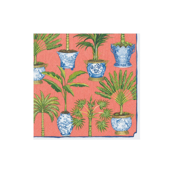 CORAL POTTED PALMS PAPER COCKTAIL NAPKINS