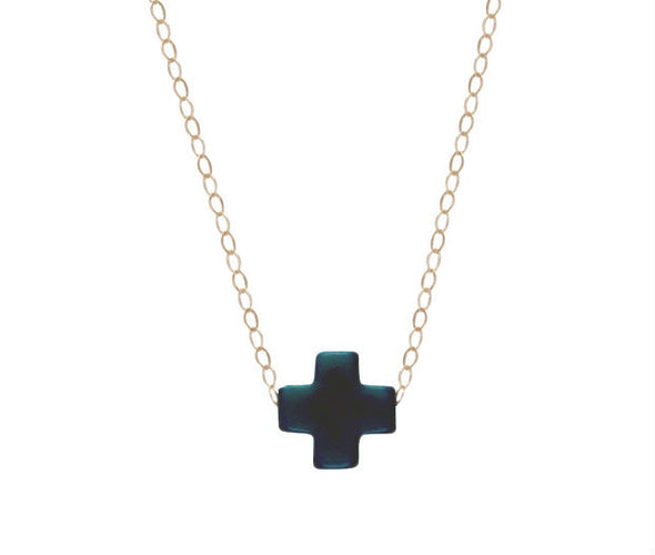 ENEWTON GOLD SIGNATURE CROSS NECKLACE IN NAVY