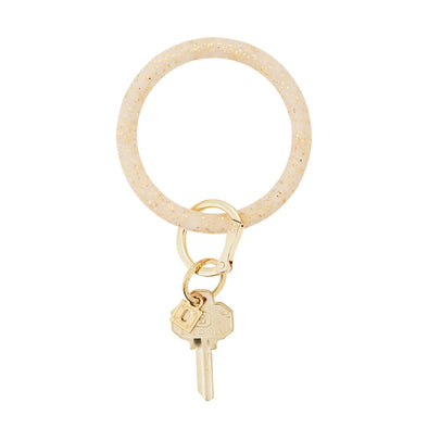 BIG O SILICONE KEY RING IN GOLD CONFETTI