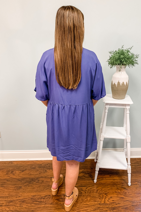DEEP PURPLE BUTTON DOWN POCKET DRESS