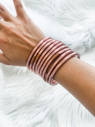 BUDHAGIRL ALL WEATHER BANGLES ROSE GOLD S/9