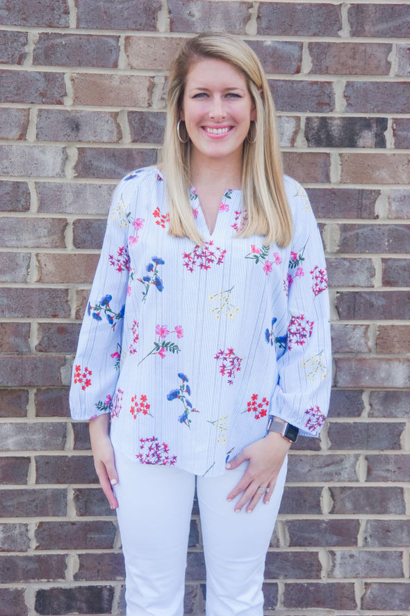 TRIBAL FLORAL RAGLAN BLOUSE
