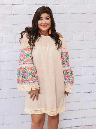 PLUS MOCHA EMBROIDERED SLEEVE DRESS