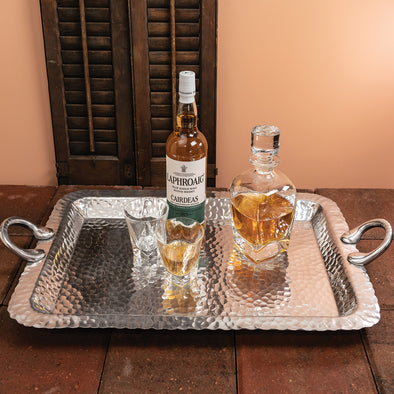 HAMMERED RECTANGULAR TRAY WITH HANDLES