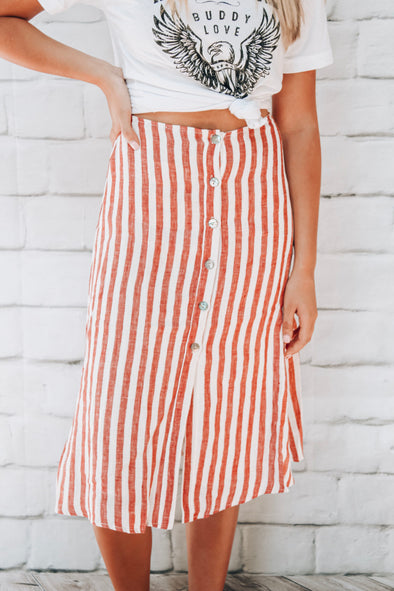 RED + WHITE STRIPE BUTTON SKIRT