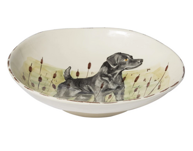 WILDLIFE HUNTING DOG LARGE SERVING BOWL