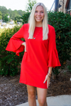 BROOKS RED BELL SLEEVE DRESS