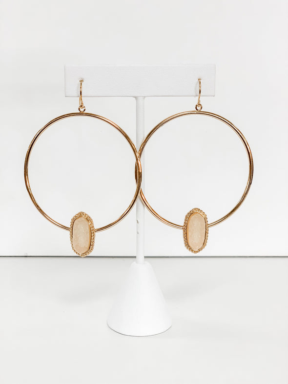 GOLD IVORY STONE CIRCLE EARRING