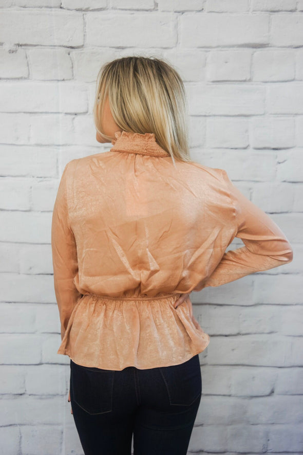 SMOCKED RUFFLE NECK BLOUSE IN BLUSH