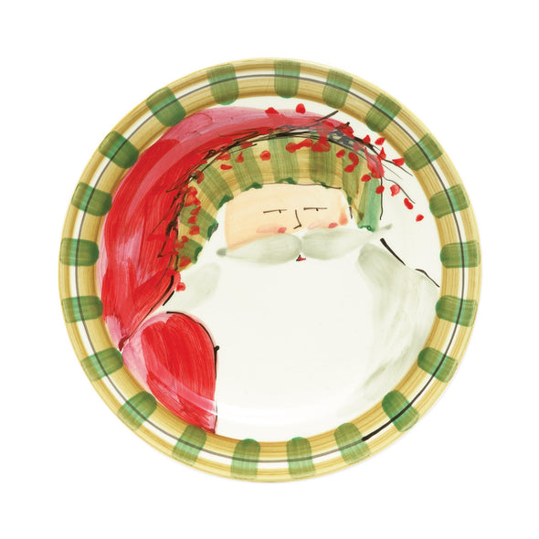 OLD ST. NICK DINNER PLATE - GREEN STRIPE HAT (BROOKS)
