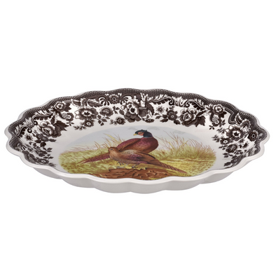 WOODLAND PHEASANT OVAL FLUTED DISH