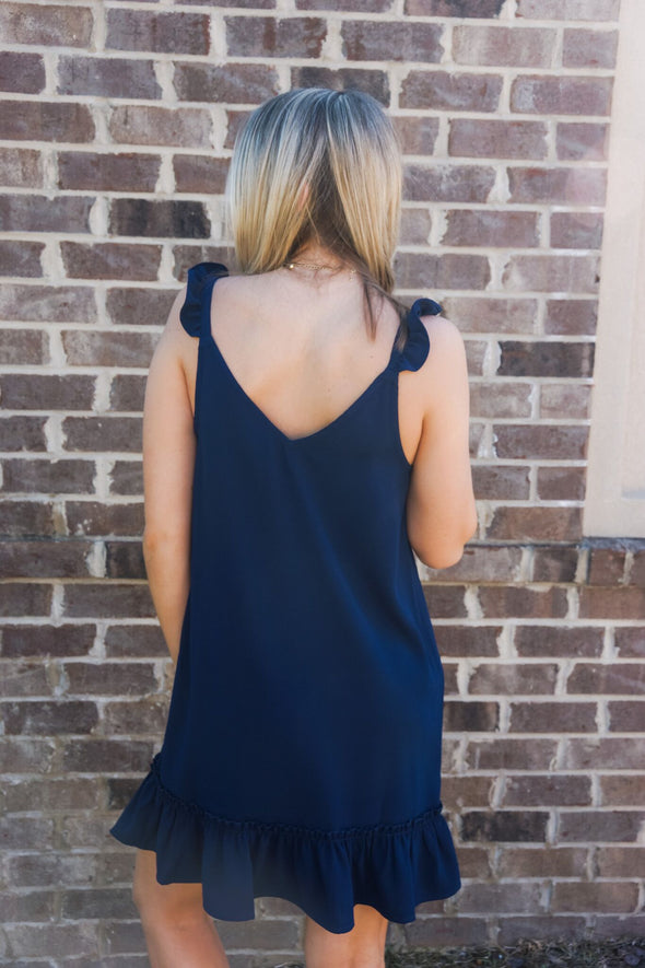 SHIFTED AND TALENTED SHIFT DRESS IN NAVY