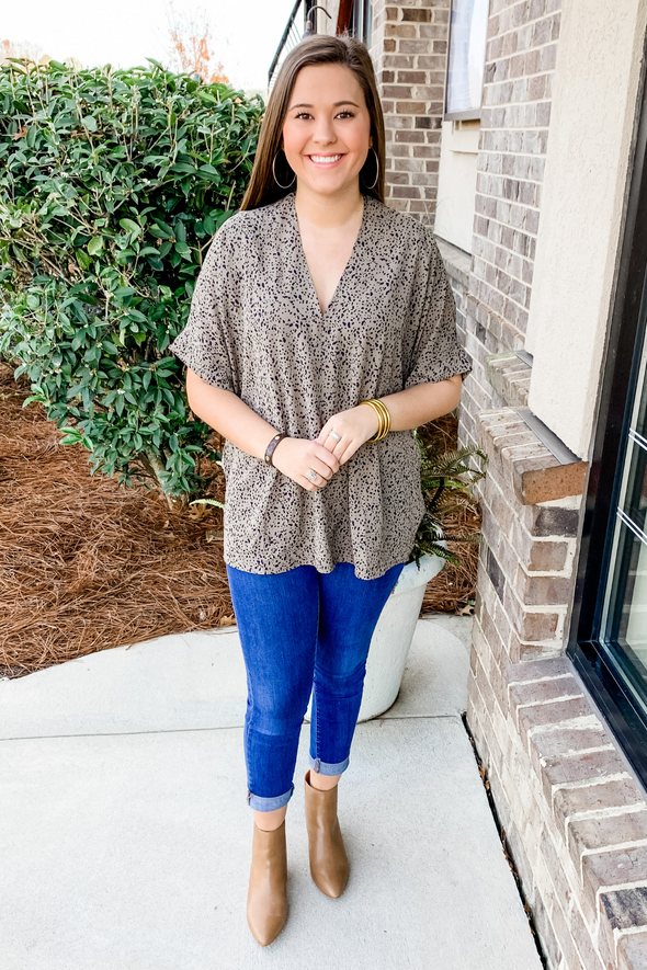GREY SPECKLE CUFFED TUNIC