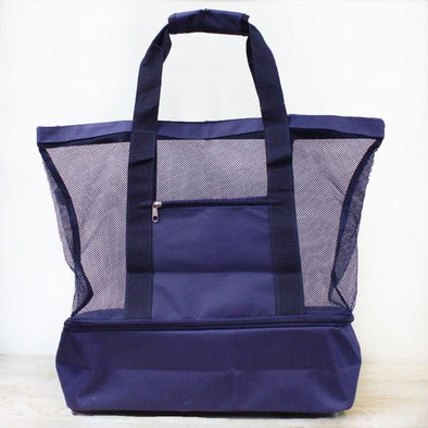 MESH BEACH COOLER TOTE, NAVY