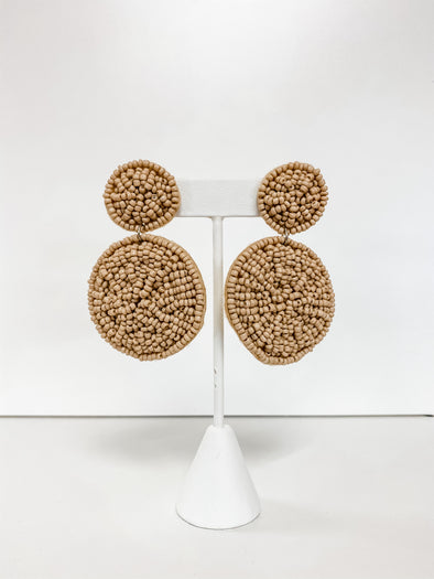 NUDE SMALL SEED BEAD CIRCLE EARRING