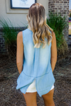 VELVET HEART: CAROL SLEEVELESS BUTTON-UP IN FADE OUT BLUE