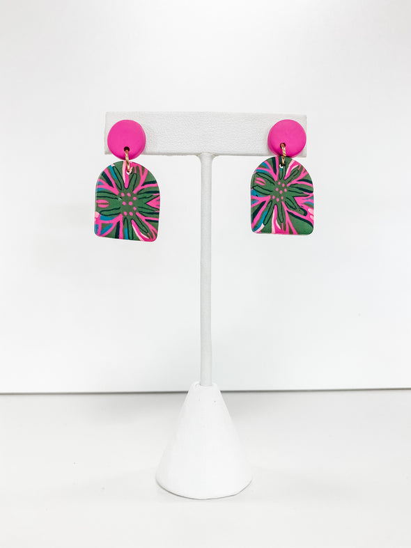FUCHSIA GEOMETRIC FLOWER PRINT CLAY EARRINGS