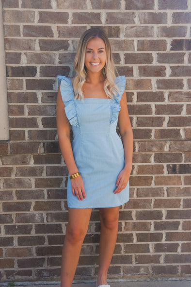CHAMBRAY ALL DAY RUFFLE DRESS