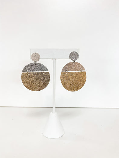 GOLD & SILVER SAND TEXTURE DISK EARRINGS
