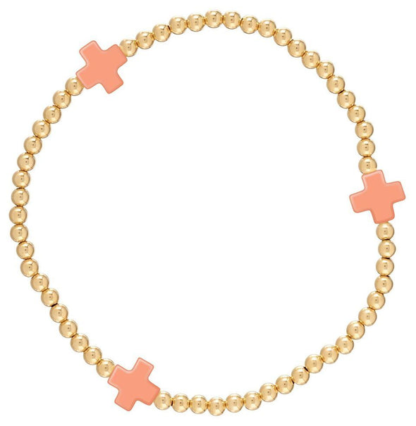 SIGNATURE CROSS GOLD 3MM BEAD BRACELET IN CORAL