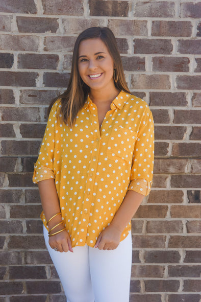 VELVET HEART SOLANA YELLOW POLKA DOT BLOUSE