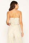 BUFFED UP LINEN BUSTIER TOP