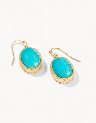 NAIA OVAL EARRINGS, TURQUOISE
