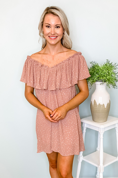 ROSE MICRO FLORAL RUFFLE DRESS