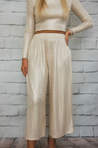 METALLIC CROP PANT