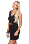 STEVIE FITTED CUT OUT SUEDE DRESS - BLACK