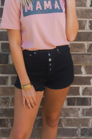 DOWN TO BUSINESS BLACK DENIM SHORT