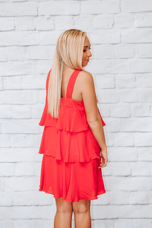 RED LAYERED RUFFLE DRESS