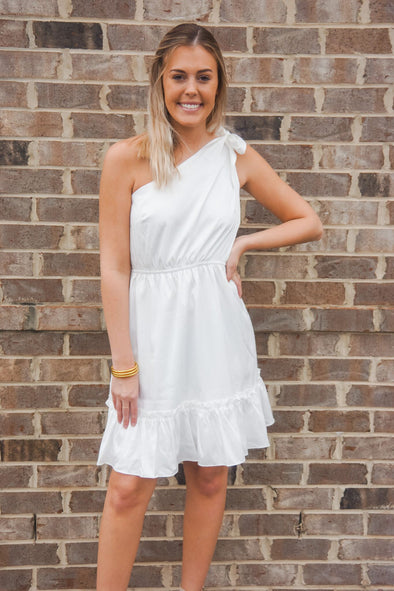 WHITE SHIMMER ONE SHOULDER DRESS