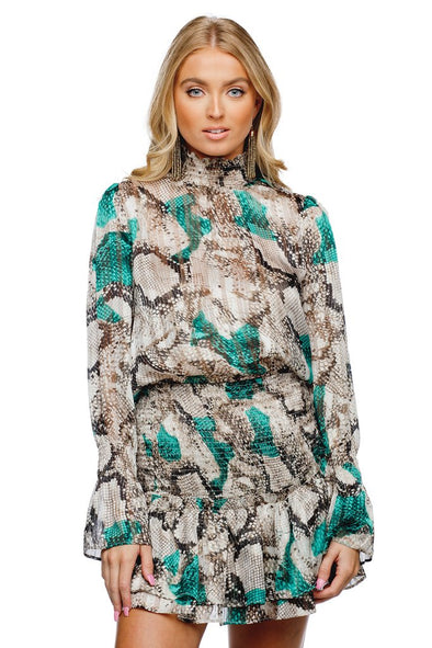 JO SMOCKED WAIST TURTLE NECK DRESS - SNAKE EYES