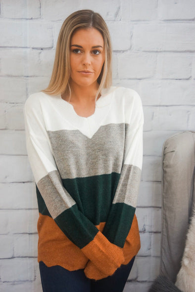 HORIZONTAL BLOCK SWEATER
