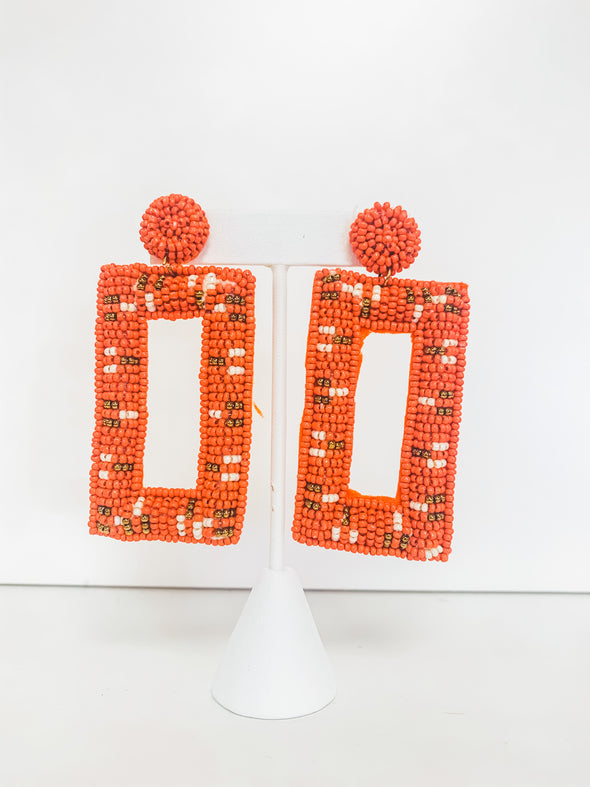 ORANGE BEADED RECTANGLE EARRINGS