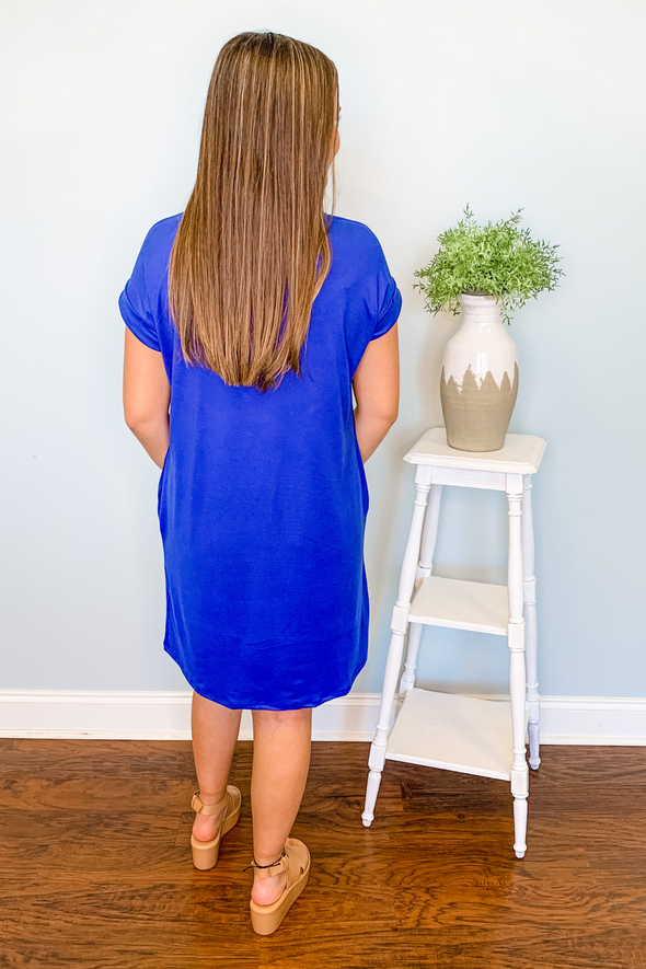 ROYAL BLUE POCKET SHIFT DRESS