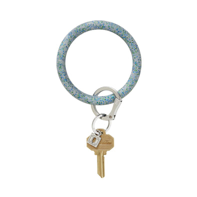 BIG O SILICONE KEY RING IN BLUE FROST CONFETTI