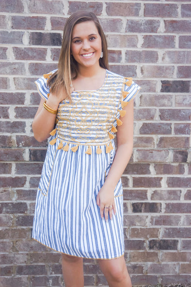 IVY JANE NAVY STRIPE DRESS