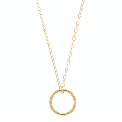 "16"" NECKLACE GOLD, HALO GOLD CHARM"